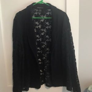 INC navy lace blazer
